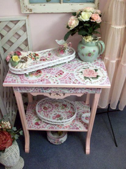 So Stunning Eastlake Style Pink Rose Mosaic Table  by Grindstone Mountain Mosaics  $480.00