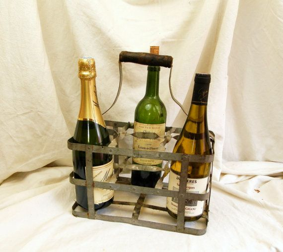 Vintage french metal wine bottle carrier for 6 bottles french decor - Wire wine bottle carrier ...