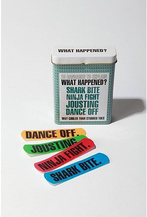 'what happened?'  bandaids.