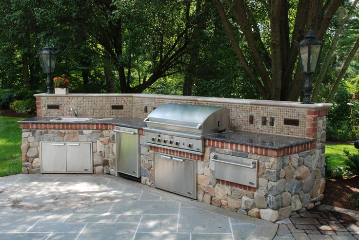 Backyard Designs With Pool And Outdoor Kitchen : BBQOutdoor Kitchens NJBuiltInGrillFireplace Design Ideas floor