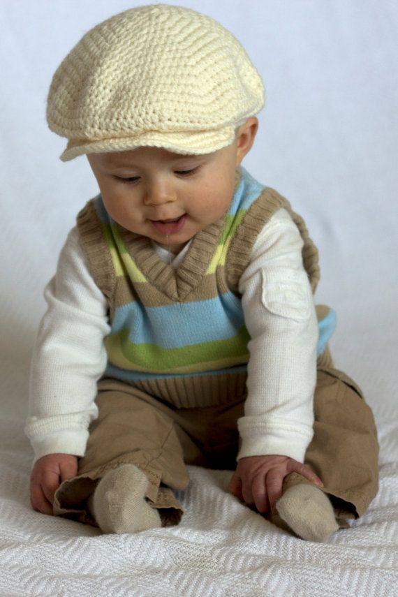 Crochet Baby Hat Pattern With Brim : Newsboy Brim Crochet Baby hat Crochet/Knit Pinterest