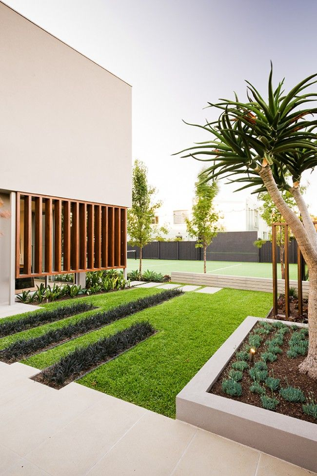 Green Space in Front of a Contemporary Home Design