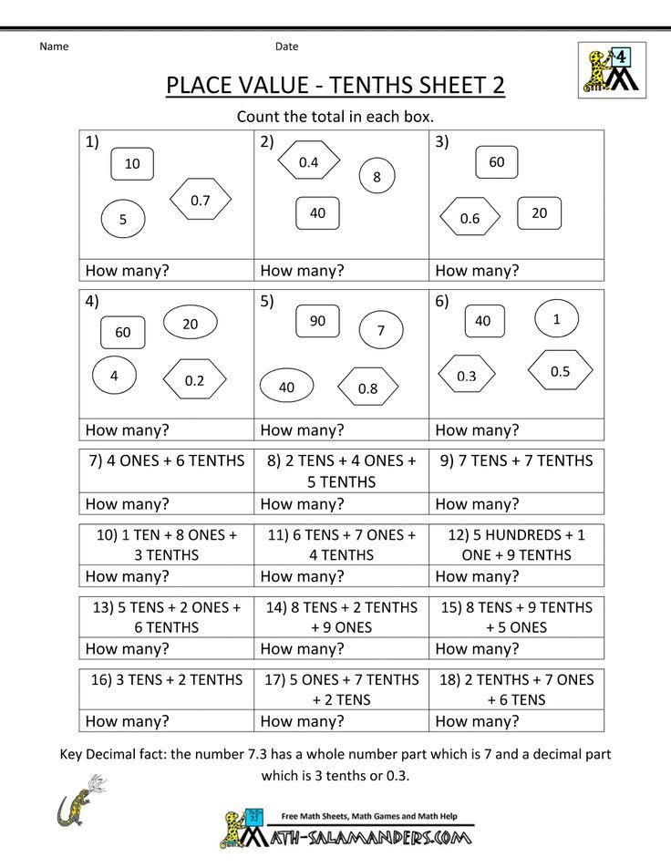 Decimals worksheets 4th grade free