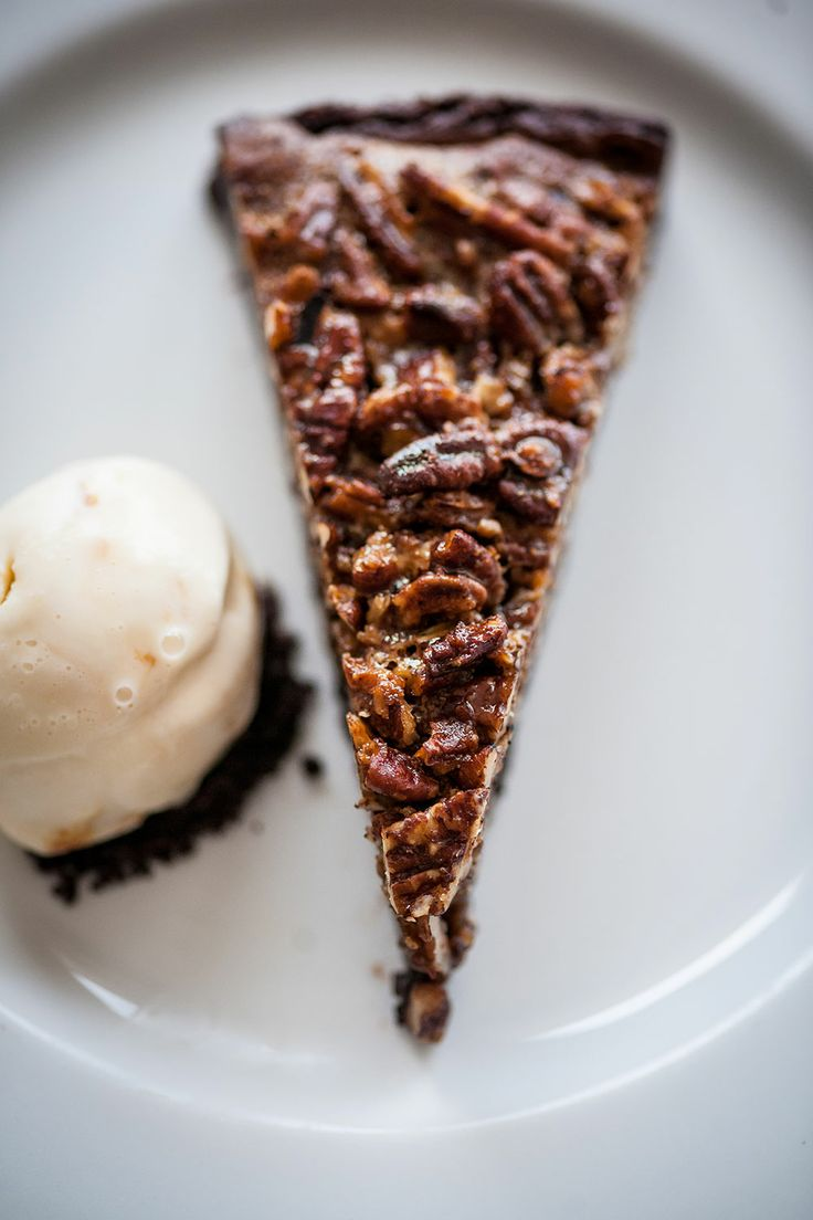 Warm chocolate pecan pie with malted milk ice cream from # ...