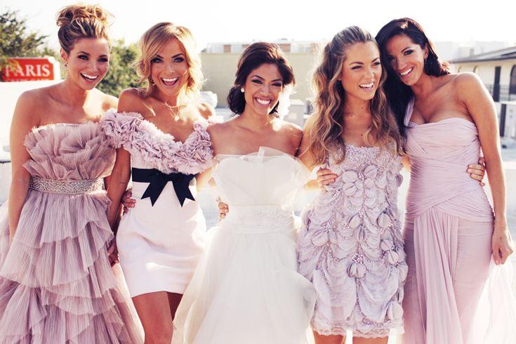 Mismatched bridesmaids.