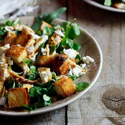 Left-over Roast chicken salad with goat's cheese & sourdough croutons...