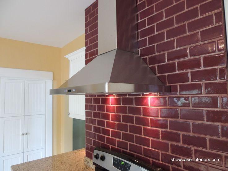 red subway tile backsplash kitchen to decorate hallway