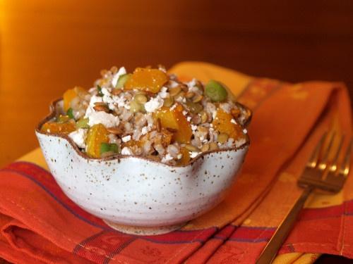 butternut squash and farro salad with pepitas and ricotta salata
