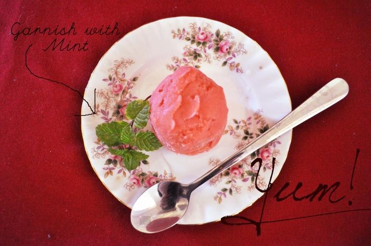 Homemade Strawberry sorbet. No ice cream maker needed!