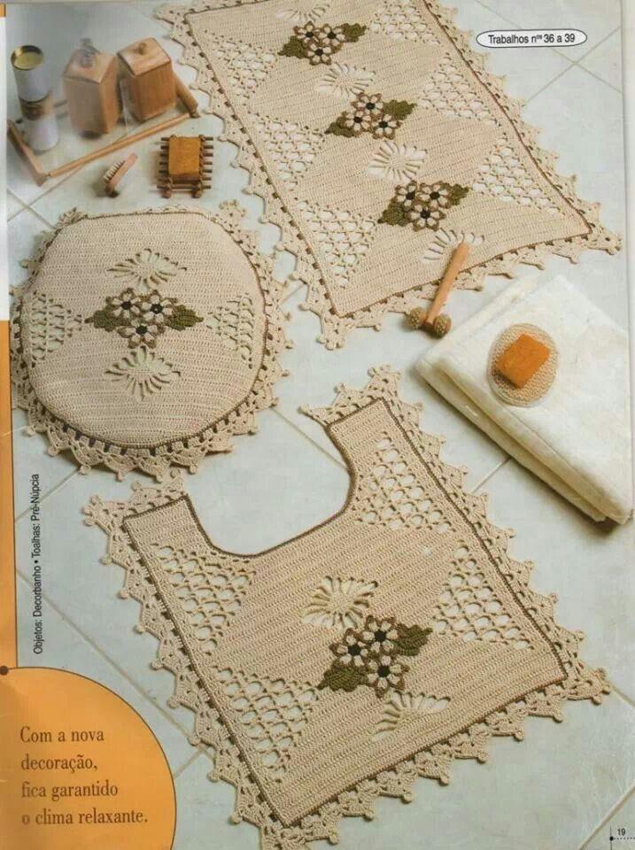 Juegos De Baño Hechos En Crochet:Jogo De Banheiro Croche Barbante