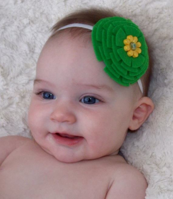 Green Stacked Felt Flower with Yellow Flower by SweetTBabyBoutique, $6 ...