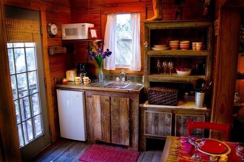 Tiny rustic kitchen Tiny Cabin ideas Pinterest