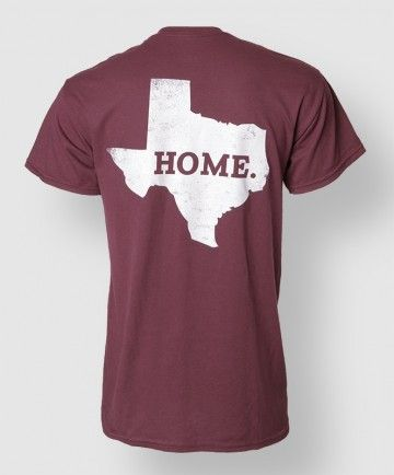 You call it Texas, we call it home. Perfect shirt to express your love for everything Texas and everything A Maroon tee with ATM logo on front chest pocket area, with state of texas and the word HOME. printed on back.