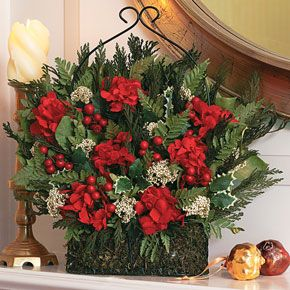 Red Hydrangea Holiday Basket