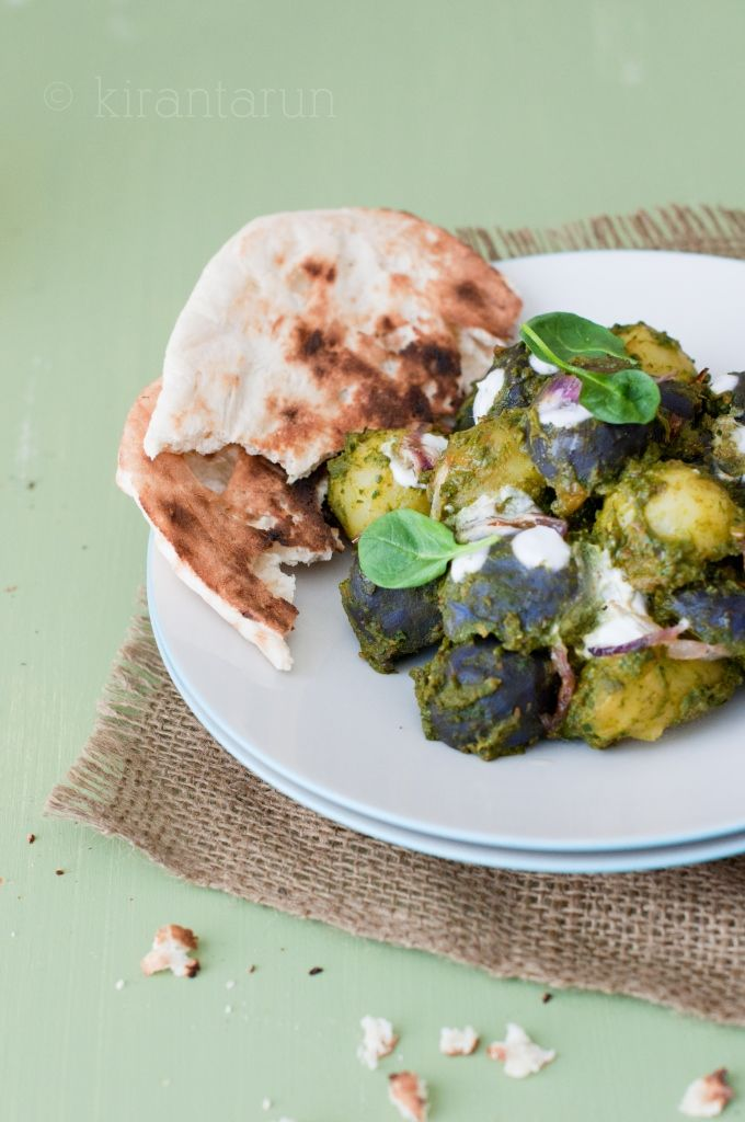Baby potatoes with spiced spinach {saag aloo} vegan
