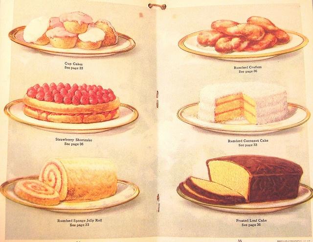 Vintage baking book cake illustrations