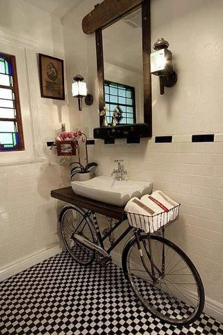 Cute idea for a guest half bath!  Behind The Screen Door  Pinterest