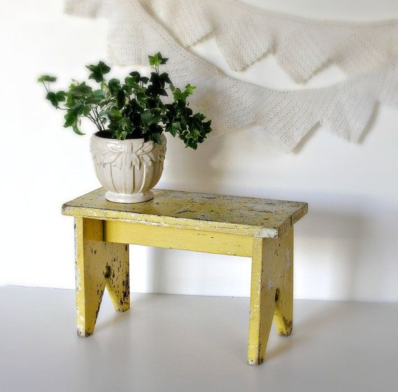 Wooden Bench Vintage Yellow Step Small Shelf Farmhouse Rustic