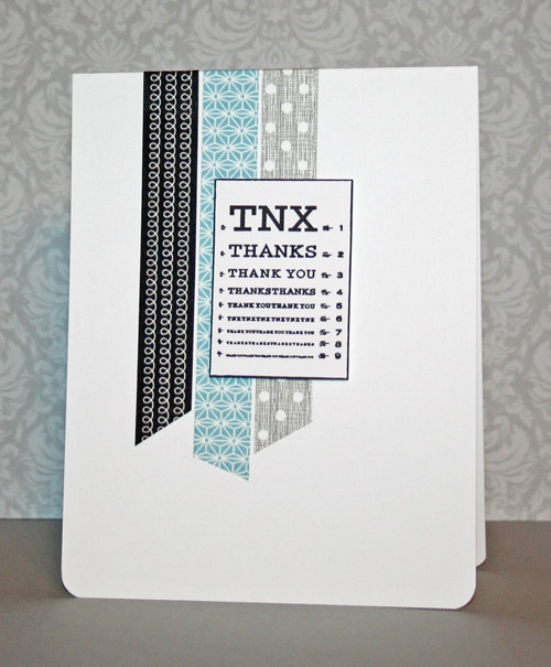 Cute masculine thank you card with washi tape