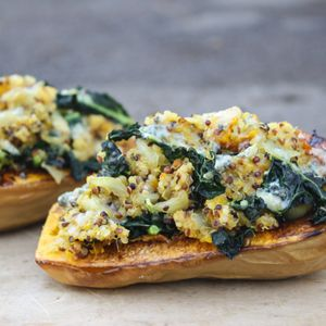 Twice-Baked Butternut Squash with Kale and Quinoa - replace the quinoa ...