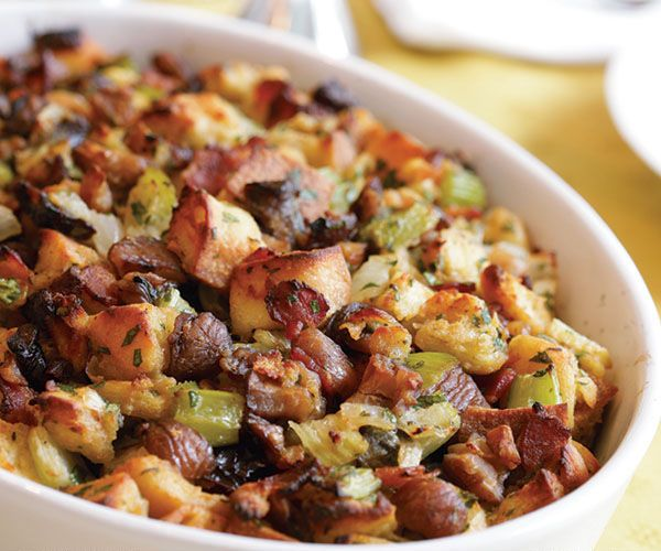 Herbed Bread Dressing with Bacon, Chestnuts & Prunes | Recipe