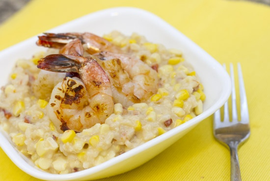 Corn Risotto with Grilled Shrimp | Recipes - Seafood | Pinterest