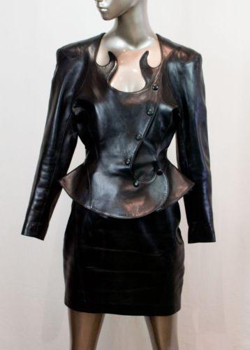 jean claude jitrois womens black leather sculpt skirt suit