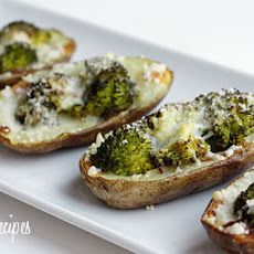 Broccoli and Cheddar Skinny Potato Skins | Food | Pinterest