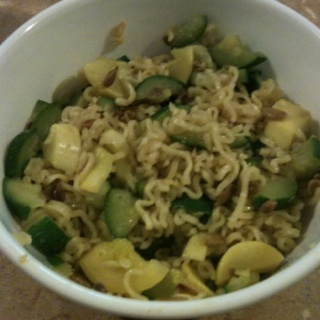 Roman noodles with squash, zucchini, and sunflower seeds! YUMMY!