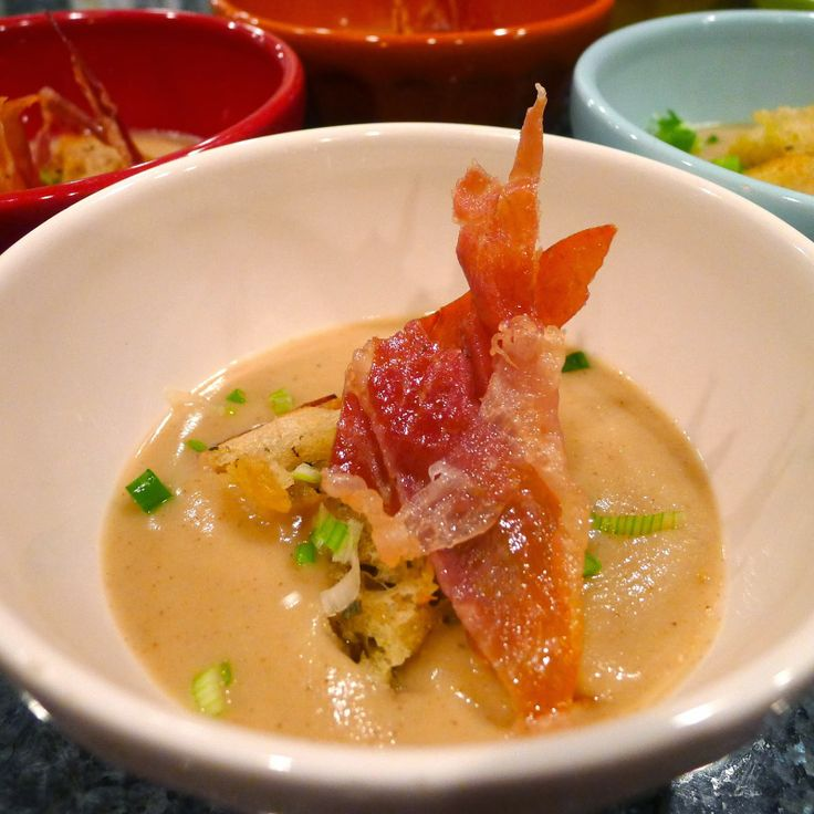 Roasted Cauliflower Soup with Crispy Prosciutto, Green Onions and ...