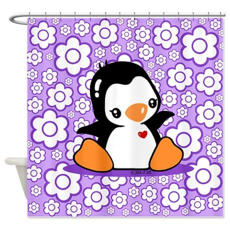Cute Penguin Shower Curtain On