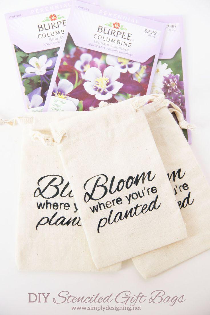 "DIY Stenciled ""Bloom"" Gift Bag | cute cotton drawstring bags ..."
