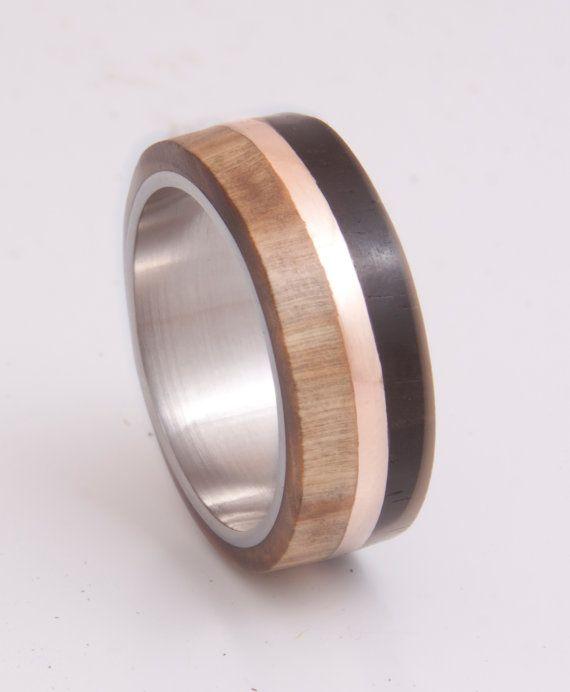 Mens Wedding Band Titanium Ring With Wood Ebony Olive Copper Stripe