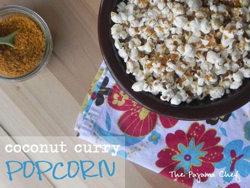 Coconut Curry Popcorn   thepajamachef.com   Appetizers   Pinterest