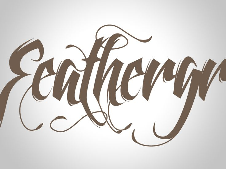 Feathergraphy font family calligraphy tatto you