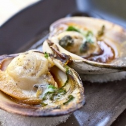 giant little neck clam with soy sauce, butter, mirin, and sake ...