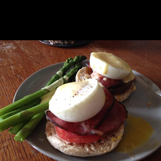 """Eggs Benedict"""": poached egg, Irish rashers, heirloom tomato on ..."""