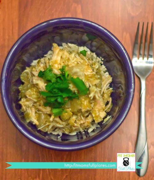 Roasted Tomatillo Salsa Verde Shredded Crockpot Chicken