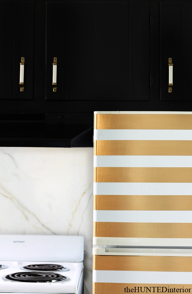 Gold Duct Tape Stripes update a dated fridge