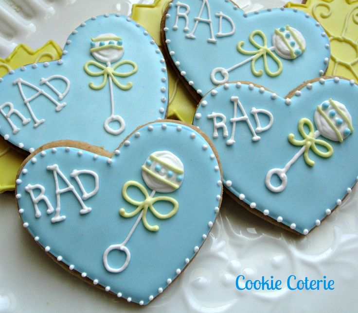 baby rattle decorated sugar cookies baby shower cookie favors one doz