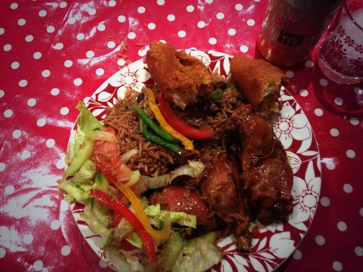 Fried Chicken with rice and peas, salad and Festival!