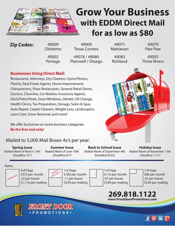 Community Mailer Rate Card Small Business Marketing
