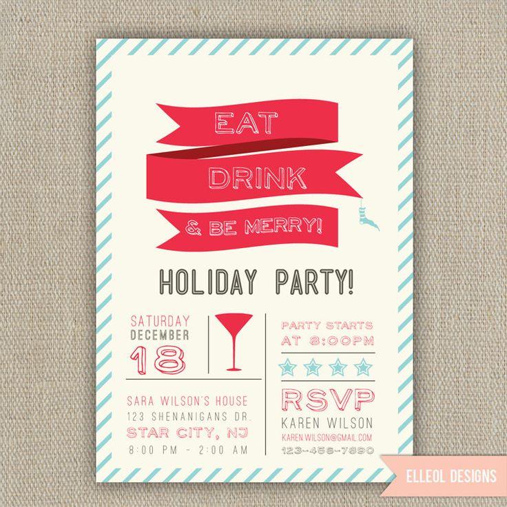 Christmas Holiday Party Invitation Printed or DIY: pinterest.com/pin/109071622198813944