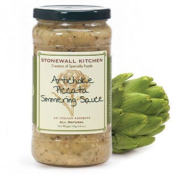 """Piccata is a popular Italian cooking style translated to mean """"cooking with scalloped cuts of meat.""""  Our new Artichoke Piccata Simmering Sauce is full of flavor - Delicious! From Stonewall Kitchen"""