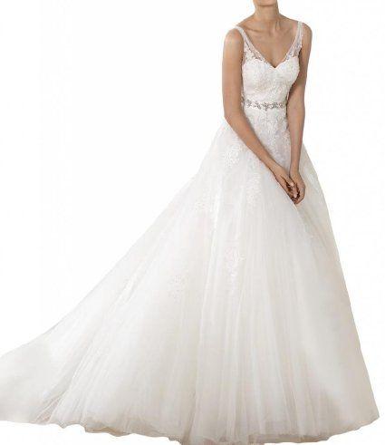 Gorgeous Bride Elegant Traeger Lang Empire Tuell Spitze Hof-Schleppe ...