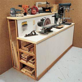 garage/workshop. Organized wood storage!