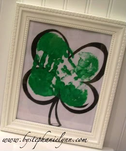 Hand Print Shamrock - Kid Craft w/ printable - Under the Table and Dreaming