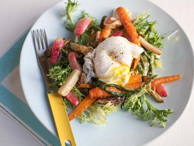 Roasted Spring Vegetable Salad with Miso Butter and a Poached Egg from ...