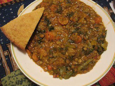 Lentil Soup with Italian Sausage and Escarole