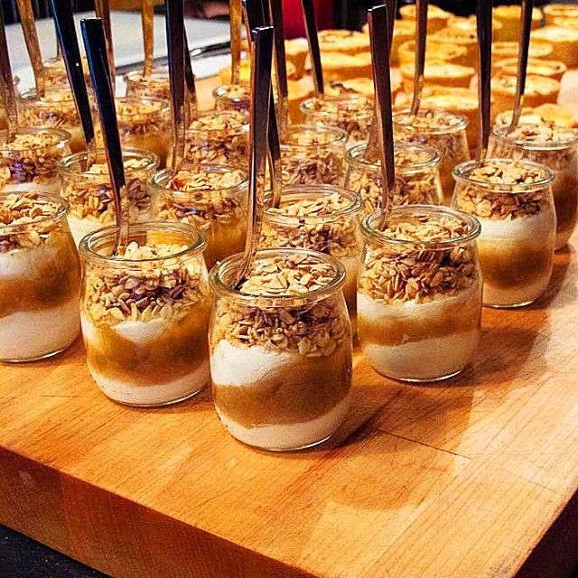 Greek yogurt parfait with apple compote and granola